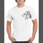 Gray Wolf (Canis Lupus) - Gildan Regular White Mens T Shirt SPECIAL